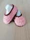 Chaussons 3 mois- rose / marron layette crochet