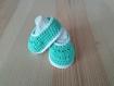 Chaussons 3 mois- vert pâle layette crochet