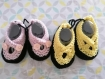 Chaussons layette tricot rose (3-6 mois)