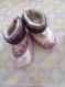 Chaussons layette lutin 3-6 mois violet tricotés main