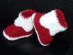 Chaussons layette lutin 3-6 mois rouge tricotés main
