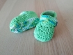 Chaussons layette crochet  (3 mois) vert