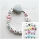 Attache tétine silicone personnalisée : coeur / licorne (à vous de choisir couleur du clip et de la perle) / attache tétine coeur