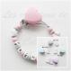Attache tétine silicone personnalisée : coeur / licorne (à vous de choisir la couleur du clip/perle et complément) / attache tétine coeur