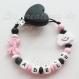 Attache tétine silicone personnalisée : coeur / nuage (à vous de choisir couleur du clip et de la perle) / attache coeur