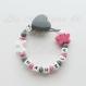 Attache tétine silicone personnalisée : coeur / papillon (à vous de choisir couleur du clip et de la perle) / attache tétine coeur