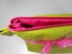 Trousse de toilette en simili cuir autruche vert, doublure imperméable rose