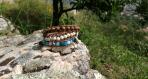 Bracelet manchette en cuir et pierres gemmes