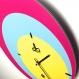 Horloge murale ronde style vintage 3 couleurs années 70
