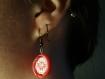 Boucles d'oreilles brodées roses