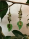 Boucles d oreilles en resine et metal avec feuilles