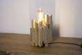 Silv / lampe de table / chevet / lampe en bois de châtaigner / ampoule tube led type edison / eclairage chaud / design moderne carré / 220v