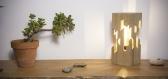 Lampe de table / lampe en bois / châtaigner /  ampoule edison / led / 2000k / Éclairage indirect chaud / design / minimaliste / cube ajouré