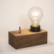Tiny / lampe de table / petite lampe de chevet / bloc de bois exotique massif / ampoule led edison / eclairage chaud 1800k / interrupteur