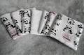 Lot de 7 lingettes démaquillante fait main tissu coton motif pandas noir rose  fond blanc et éponge bambou blanche