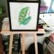 Peinture sous cadre duo de feuilles