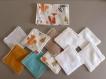 Lot une pochette et 10 lingettes lavables coton imprimé les animaux de la forêt