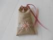 Pochon lin 10cmx16cm coloris taupe/beige/vieux rose  pochette à couverts / à maquillage / pour téléphone portable / cadeau invités