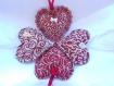 Coeur décoratif à suspendre collection dans mon chalet dans les tons rouge-bordeaux (réf 1)