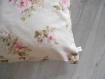 Housse de coussin 40 x 40 cm toile aspect lin -esprit maison de charme - décoration vieilles roses ou rayures - tons beiges/roses/vert