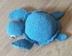 Tortue bleue et blanche doudou enfant (fait main et unique)