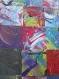 Tableau abstrait collage et peinture