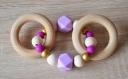 Hochet en bois et silicone double anneaux