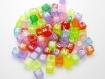 Lot 50 transparent multicouleur perle lettre alphabet cube 6mm braclet, porte clé..