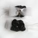 Clips chaussures mariage fleur satin noir organza blanc shabby chic