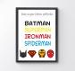 Affiche a4 / mes super- héros préférés / batman / superman / ironman / spiderman