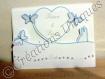 Faire-part mariage avec cœur, papillons et couple - ciel/blanc/gris