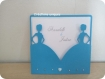 Faire-part mariage pochette 'double mariées' - bleu/argent/blanc