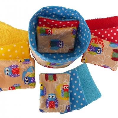 Pochon de 12 lingettes lavables motif hiboux