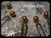 Lot de 6 pics à cheveux perle en verre couleur or ( doré )