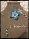 Parure fleur de soie blanche turquoise