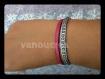 Bracelet manchette double strass et rouge