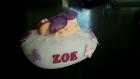 Veilleuse avec bébé fille fushia rose et violet