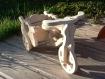 Petit tricycle en bois découpé pour déco porte fleur
