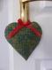 Cœur de noël en tissu vert