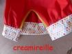 Tablier et toque de cuisine tissu rouge et tissu fantaisie à pois