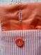Pochette etui pour portable orange à rayures blanches