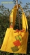 Sac en toile jaune décoré de tissu madras