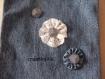Sac  sacoche en toile de jean recyclé, décoré de dentelle et de boutons
