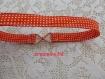 Bandeau head band en tissu orange à pois blancs