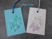 Lot de six étiquettes pour cadeau bleue et rose  motifs irisés