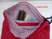 Sac pochon sèche cheveu tissu coton rouge doublé tissu à carreaux