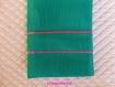 Etui pochette pour portable en tissu vert uni et broderies lignes appliquée rose