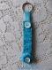 Porte clefs tissu et boutons couleur turquoise