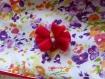 Snood, tour de cou polaire rouge unie et coton fantaisie blanc à petites fleurs