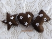 Cœur, botte et étoile de noël en feutrine marron et décors blanc